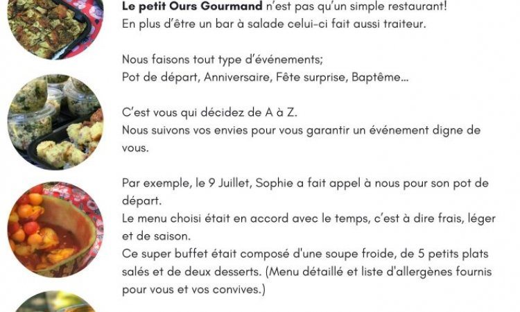 Le petit Ours Gourmand participe à vos événements, bar à salades, Villeurbanne